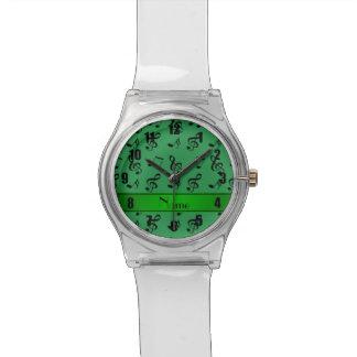 Notas verdes conocidas personalizadas de la música reloj