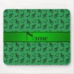 Notas verdes conocidas personalizadas de la música alfombrillas de ratones