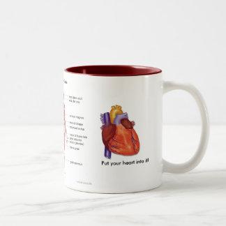 Notas y café de los músculos (visión anterior) taza de café