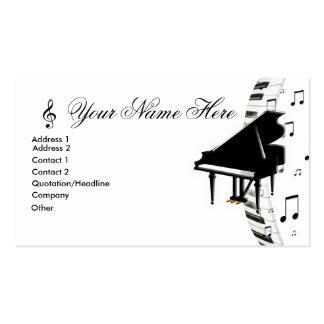 Notas y G-Clef de la música de Keyboardn del piano Plantilla De Tarjeta Personal