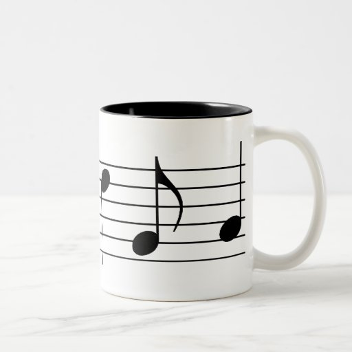 Notas y personal de la música tazas de café
