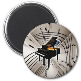 Notas y personal del piano imán redondo 5 cm