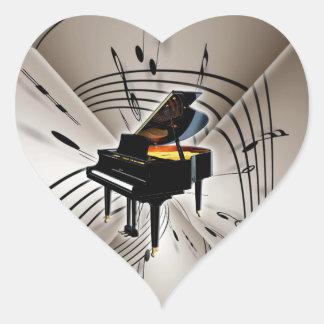 Notas y personal del piano pegatina en forma de corazón