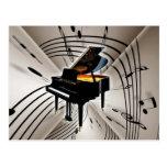 Notas y personal del piano postales