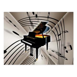 Notas y personal del piano tarjeta postal