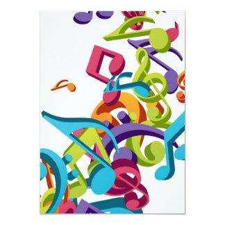 """Notas y sonidos coloridos frescos de la música invitación 5"""" x 7"""""""