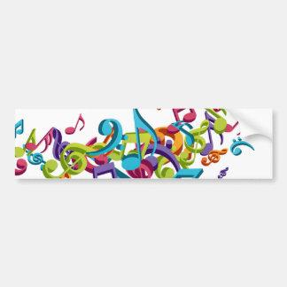 notas y sonidos coloridos frescos de la música pegatina para auto