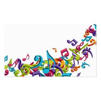 notas y sonidos coloridos frescos de la música tarjetas de visita