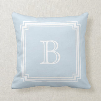 Notched Corner Frame BABY BLUE Background Monogram Throw Pillow