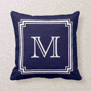 Notched Corner Frame Navy Blue Background Monogram Throw Pillow at Zazzle
