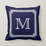 "Notched Corner Frame Navy Blue Background Monogram Throw Pillow<br><div class=""desc"">Be sure to click on &quot;CUSTOMIZE IT&quot; to access additional design options.</div>"