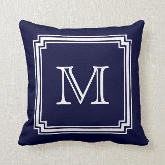 Notched Corner Frame Navy Blue Background Monogram Throw Pillow