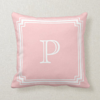 Notched Corner Frame Pink Background Monogram Throw Pillow