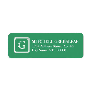 Notched Square Initial Return Address Label, Green Label
