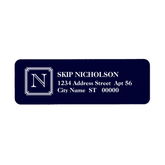 Notched Square Initial Return Address Label, Navy Label