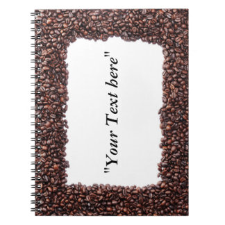 Note book with coffee beans motive and text field
