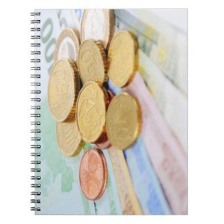 Note book with euro motive for currency