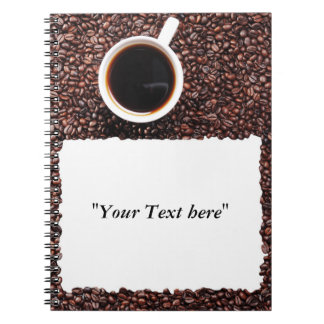 Note book with motive for coffee and text field