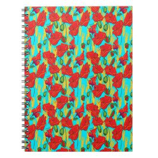Note booklet poppy, flowers spiral notebooks