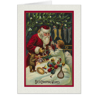 Note card Best Wishes Santa with Child