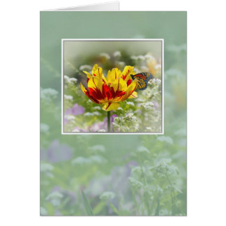Note Card, Flowers and Butterfly Card