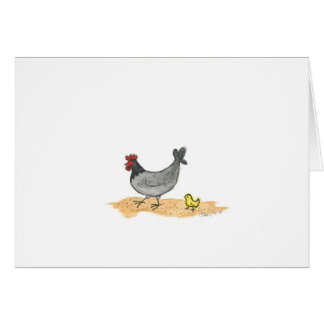 Note card Gray Hen With Chick