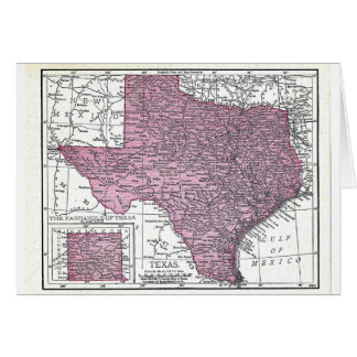 Note card:  Map of Texas, 1921 Card