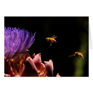 Note Card or Invitation - Bees Pollenate Artichoke