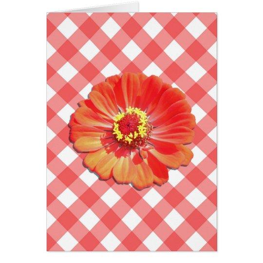 Note Card - Red Zinnia on Lattice