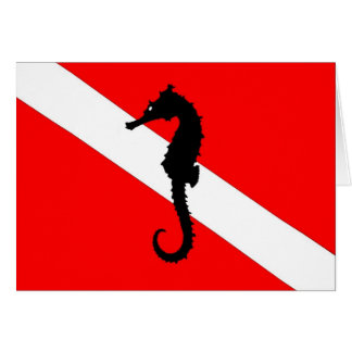 note card - seahorse dive flag