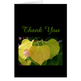 NOTE CARD/THANK YOU/HEART-SHAPED LEAVES/YELLOW/LIM CARD