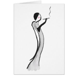 Note Card with Chic Jazz Age Lady Illustration
