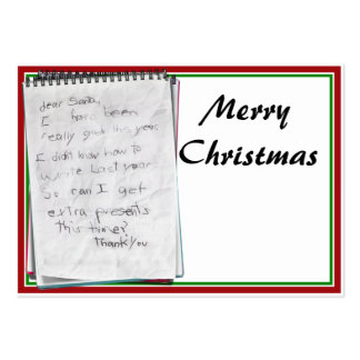 Note for Santa Business Card Template