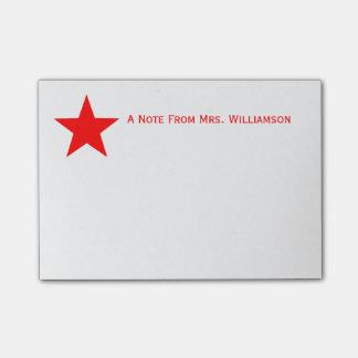 Note From School Teacher Red Star Custom Name