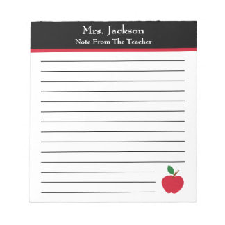 Note From The Teacher | Apple Elementary Notepad