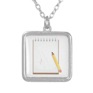 Note Pad Square Pendant Necklace