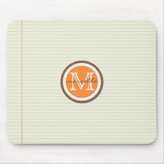 Note Paper Background Orange Monogram Mouse Pad