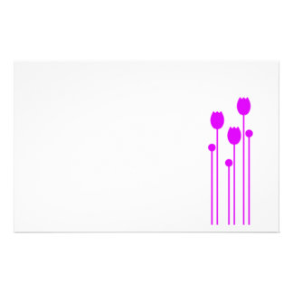 Note paper Design tulip purple writing paper pink