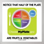Note que la mitad de la placa es frutas y verduras impresiones