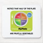Note que la mitad de la placa es frutas y verduras alfombrillas de raton