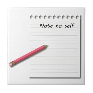 Note to Self paper and pencil Tile