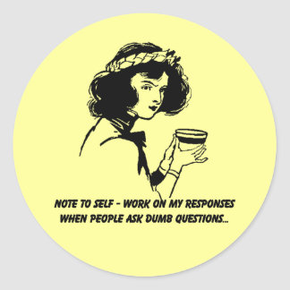 Note to Self - Sarcastic Humor Classic Round Sticker