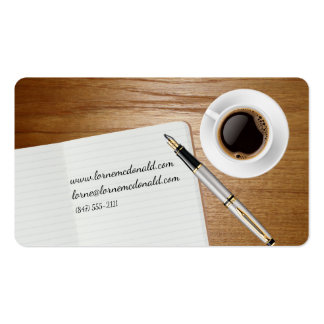 notebook and pen business card
