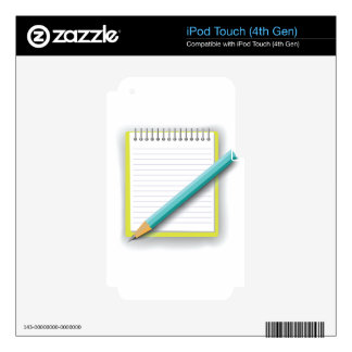 notebook and pencil decal for iPod touch 4G