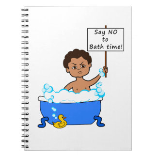 notebook boy in tub with sign bubbles duck