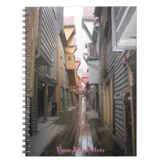 Notebook: Bryggen Walkway, Bergen, Norway
