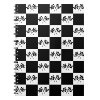 Notebook Car Racing Checkered Flags Checkers B&W