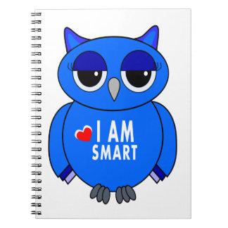 notebook cartoon blue owl I AM SMART