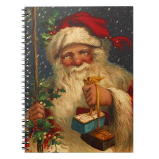 Notebook Christmas Holiday Guestbook Vintage Santa