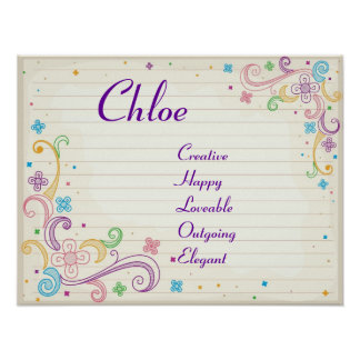 Notebook Doodles Teen Girl Name Art Print